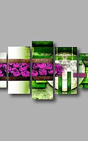 """estirada (listo para colgar) pintura al óleo pintado a mano 60 """"x36"""" flores modernas pared de lona de arte, púrpura, verde"""