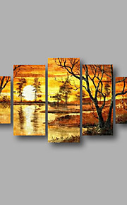 """estirada (listo para colgar) pintura al óleo pintado a mano 60 """"x32"""" de la pared del arte moderno de la lona de los árboles forestales"""