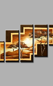 "Stretched (ready to hang) Hand-Painted Oil Painting 60""x36"" Canvas Wall Art Modern Abstract Trees Brown"