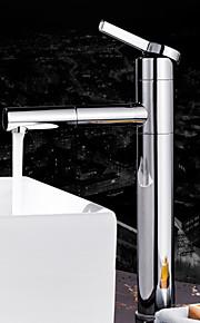 デッキマウント シングルハンドルつの穴 in クロム バスルームのシンクの蛇口