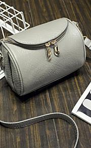 Women PU Duffel Shoulder Bag-Gray / Black