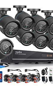 sannce® 720p AHD 8-kanals optager cctv dvr sort bullet kamera hjem overvågning sikkerhed kamera system