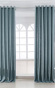 Deux Panneaux Moderne Solide Bleu Chambre à coucher Métissé Lin et Polyester Panneau Rideaux rideaux