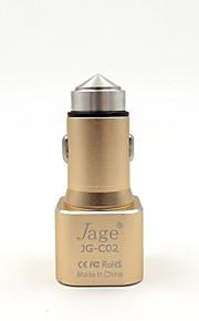jage® 2in1 12v-24v dual usb 5v 1a / 2.4a bil oplader strømforsyning og sikkerhed hammer til iPhone, iPad, smartphone, gps