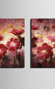 Mini Size E-HOME Oil painting Modern Red Flowers In Full Bloom Pure Hand Draw Frameless Decorative Painting