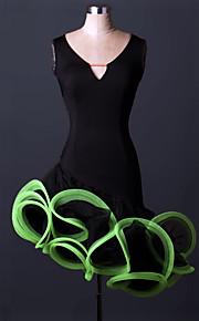 Latin Dance Dresses Women's Performance Spandex Draped 1 Piece Black