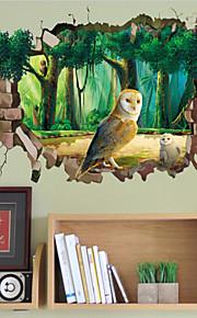 Eläimet / Piirretty Wall Tarrat 3D-seinätarrat,PVC 50X70X0.1