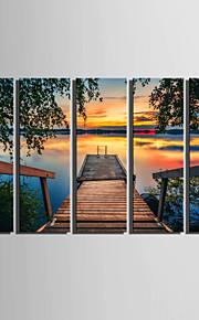 Landskap Canvastryck Fem paneler Redo att hänga,Vertikal