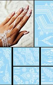 6PCS Fashion Flash Waterproof Tattoo White Ink Women Men Henna Strap Jewel Necklace Design
