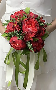 Bouquets(Rose / Rouge / Vert / Blanc / Pêche,Satin)Pivoines