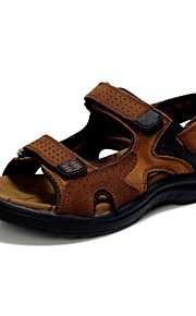 Men's Shoes Nappa Leather Outdoor / Casual Sandals Outdoor / Casual Sport Sandals Flat Heel Hollow-out Yellow / Taupe