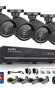 sannce® 720p AHD 8-kanals førte vedio cctv dvr sort bullet kamera hjem overvågning sikkerhed kamera system