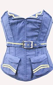 Damen Unterbrustkorsett / Brustkorsett / Übergröße - Denim Jeans / Nylon / Polyester Schnüren