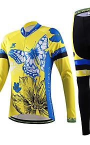 naisten pyöräily sininen kukka pitkähihainen paita polkupyörä hengittävä kuivuu nopeasti jersey + pyörä 3d tyyny pad housut sopivat