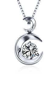 2016 Trendy Double Moon Necklace Real 925 Sterling Silver Pendant Round Rhinestone Zircon Women Fine Jewelry