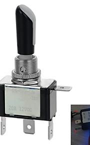 jtron 12v 20a auto modificatie switch / led blauw licht switch on-off-on - (zwart&zilver)