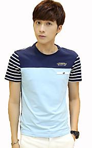 Camiseta De los hombres Casual / Trabajo / Formal / Deporte / Tallas Grandes A Rayas-Algodón-Manga Corta