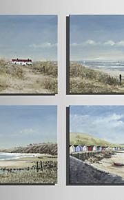 ミニサイズe-ホーム油絵現代の海辺のコテージビュー純粋な手は、フレームレス装飾画を描きます