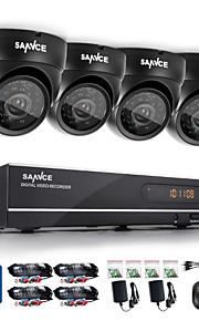 sannce® 8-kanals cctv-system 720p hdmi AHD cctv dvr 4stk 1,0 mp ir udendørs Sikkerhedssystem overvågningskamera