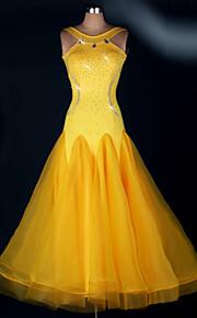 Ballroom Dance Dresses Women's Performance Spandex Draped 1 Piece Yellow