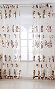 Deux Panneaux Rustique Floral / Botanique Marron Salle de séjour Viscose Sheer Rideaux Shades
