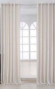 Deux Panneaux Moderne Solide Ivoire Chambre à coucher Métissé Lin et Polyester Panneau Rideaux rideaux