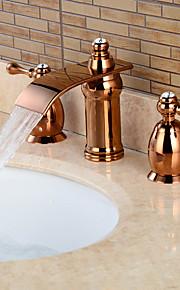Разбросанная Две ручки три отверстия in Розовое золото Ванная раковина кран