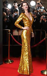 Официальный вечер Платье-Золотой Футляр V-образный вырез В пол Пайетки