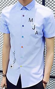 Camisa De los hombres Casual Estampado-Algodón-Manga Corta