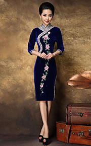 Women's Formal Sexy Bodycon Dress,Floral Midi ¾ Sleeve Blue Silk / Polyester All Seasons