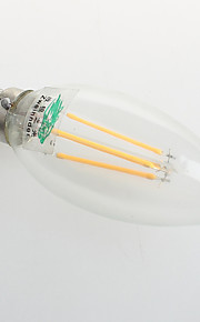 4W E26/E27 LED-lysestakepærer C35 4 COB 380 lm Varm hvit Dekorativ AC 220-240 V 1 stk.