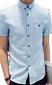 Camisa De los hombres Casual Un Color-Algodón-Manga Corta