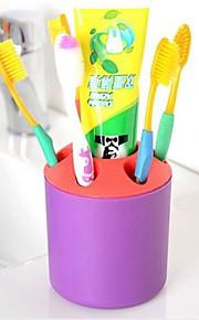 プラスチック製のように実用的な多孔質デスクトップペンコンテナ歯ブラシ歯磨き粉ホルダーランダムな色