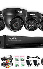 sannce® 960h 8-kanals cctv-system vandtæt videooptager 800tvl dome hjem sikkerhed kamera overvågning kits systemet