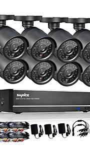 sannce® 8-kanals 960h cctv-system vandtæt videooptager 800tvl hjem sikkerhed kamera overvågning kits systemet