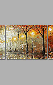 Hand-painted Thick Autumn Scenery Oil Painting Home Office Decor with Stretched Frame - Set of 3