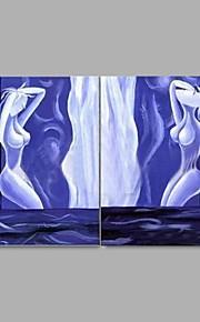 Peint à la main Nu Modern / Style européen,Deux Panneaux Peinture à l'huile Hang-peint
