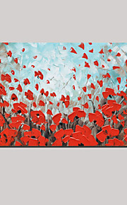 Hand-Painted Modern Thick Red Butterfly Flower Oil Painting Wall Art Home Office Decor With Stretched Frame