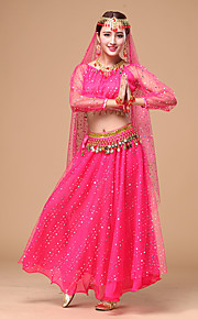 Belly Dance Women's Performance Chiffon Sequins 3 Pieces Outfits