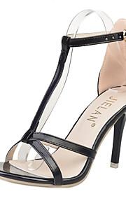 Черный-Женская обувь-Для офиса / На каждый день / Для вечеринки / ужина-Полиуретан-На шпильке-На каблуках / С открытым носком-Сандалии