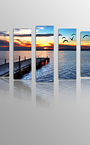 Pier and Seagulls on Canvas wood Framed 5 Panels Ready to hang for Living Decor