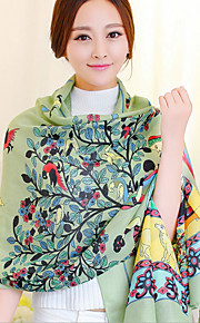 Long Wishing Tree Green Printing Cotton Twill Scarves Fringed Shawl