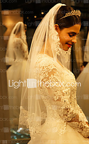 One-tier-Lace Applique Edge-Angel cut/Waterfall-Elbow Veils(Ivory,Embroidery)