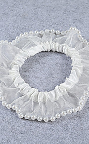 Garter Stretch Satin / Lace Imitation Pearl Ivory