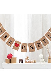 Vintage Kraft Paper Rustic Wedding JUST MARRIED Banner Bunting Garlands With String