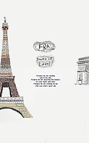 Colorful Eiffel Tower Sketch Wall Stickers PVC Arch Wall Decals Architecture