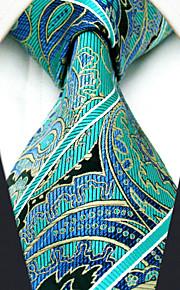 Men's 100% Silk  Tie Paisley Green Business Necktie