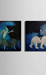 E-HOME® Stretched LED Canvas Print Art Riding Animal Spirit  LED Flashing Optical Fiber Print Set of 2