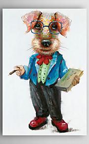 håndmalte oljemaleri dyr en hund med en bok med strukket ramme 7 veggen arts®