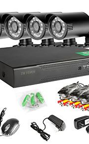 4-kanals 960h netværk dvr 4stk 1000tvl ir udendørs CCTV overvågningskameraer systemet